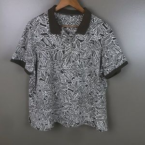 LANDS' END Brown Tropical Print Short Sleeve Polo
